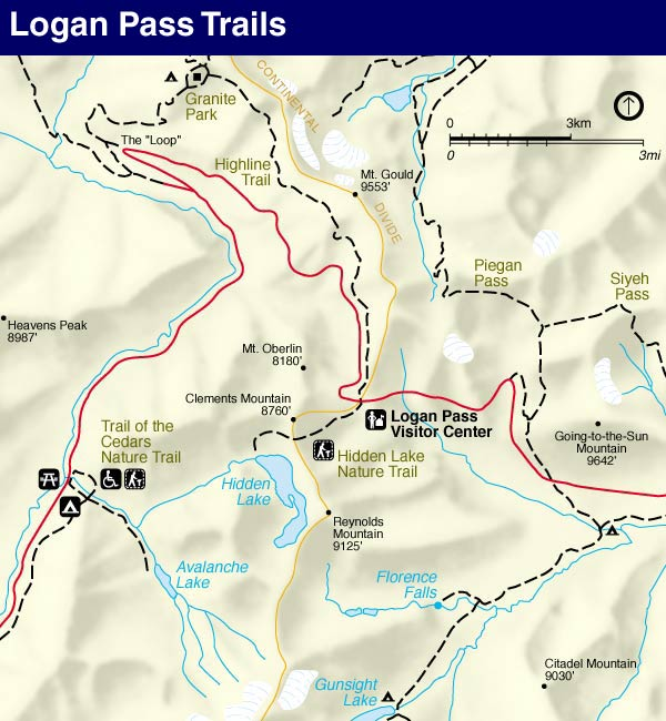 Glacier National Park Logan Pass Map